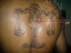 Calourful Tribal Libra Tattoo