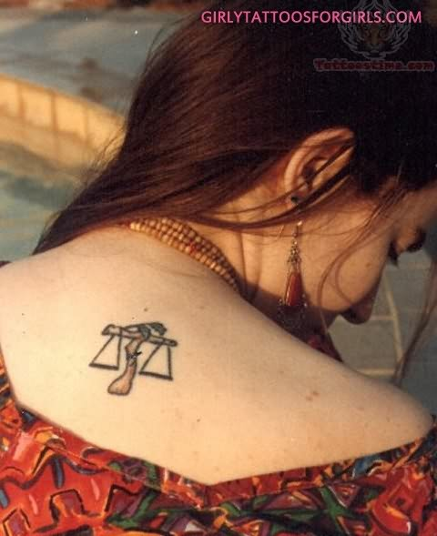 Libra Small Zodiac Symbol Tattoo On Back