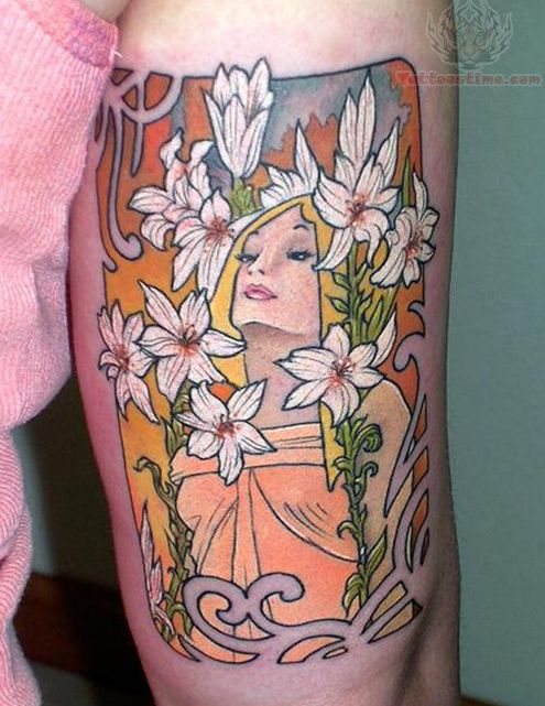 Beautiful Flowers And Girl Tattoo On Bicep
