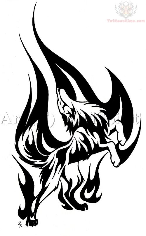 Determined Flame Wolf Tattoo