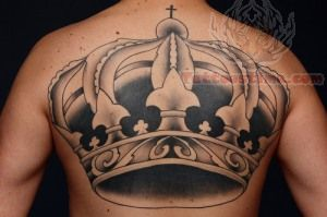 Large Crown Tattoo on Back