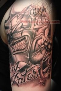 Laugh Now Cry Later Mask Tattoo