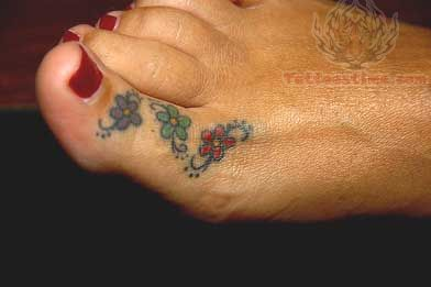Toe Flower Tattoo
