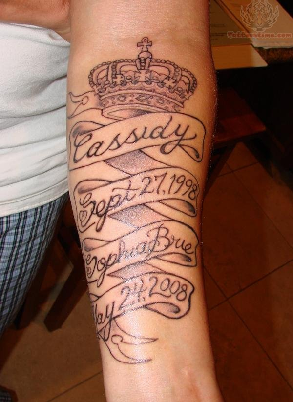 crown and memorial banner tattoo. Black Bedroom Furniture Sets. Home Design Ideas