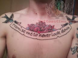 Large Banner Tattoo On chest