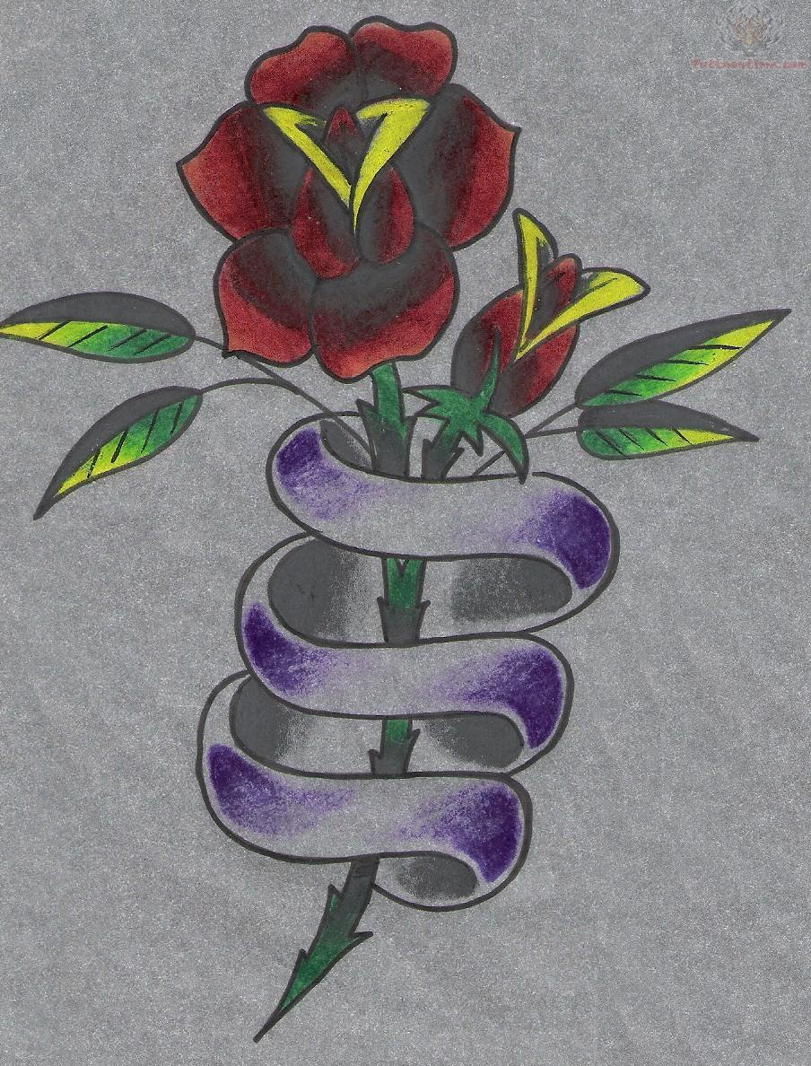 Rose And Banner Tattoo Design