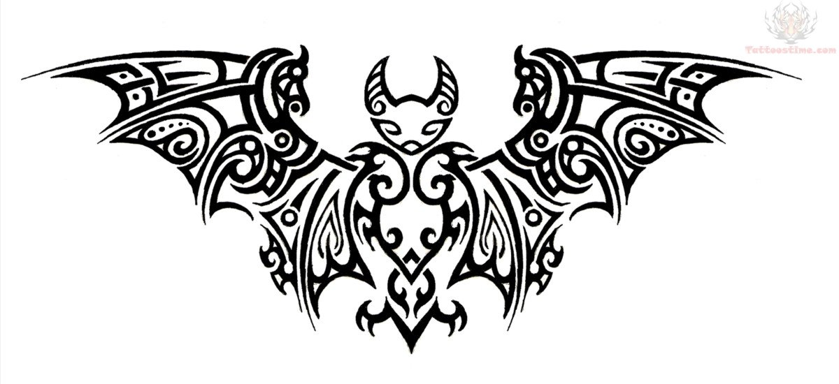 Tribal Bat Tattoo Design Sample