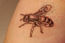 Black Ink Bee Tattoo Picture