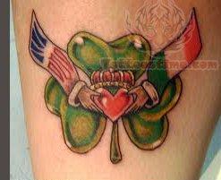 Claddagh and Leaf Tattoo