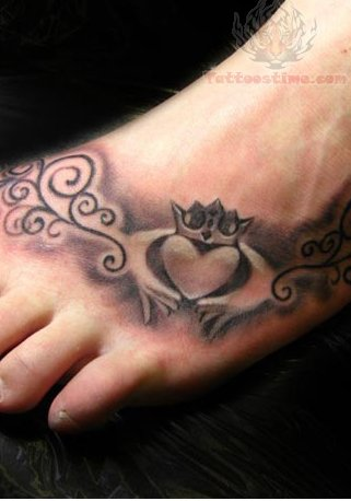 claddagh foot tattoo picture. Black Bedroom Furniture Sets. Home Design Ideas