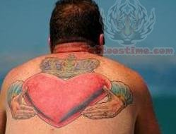 Claddagh Large Tattoo On Back