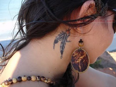 Dream Catcher Tattoo On Girl Neck