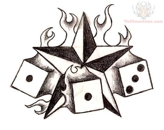 Star And Dice Tattoo Design