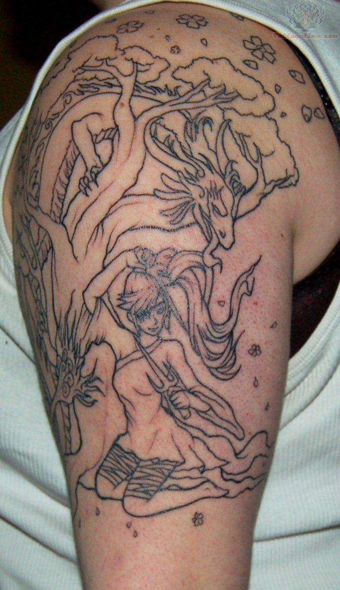 half sleeve color ink dragon tattoo