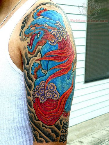 Half Sleeve Color Ink Dragon Tattoo