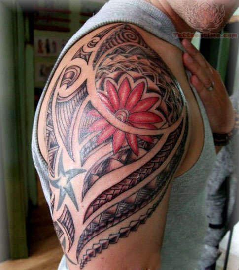 Maori With Colour Flower Half Sleeve Tattoo