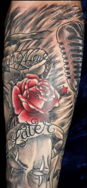 Red Rose Tattoo On Half Sleeve