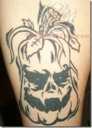 Black Ink Halloween Tattoo