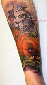 Halloween World Tattoo On Arm