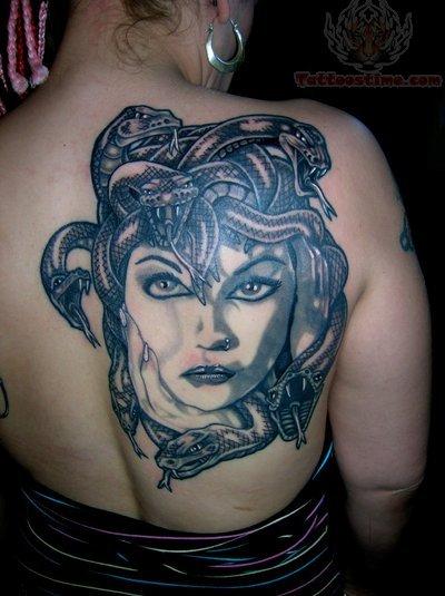 Mermaid Face Tattoo Medusa Large Face Tattoo on
