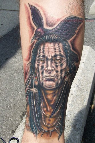 american indian tattoo on leg. Black Bedroom Furniture Sets. Home Design Ideas