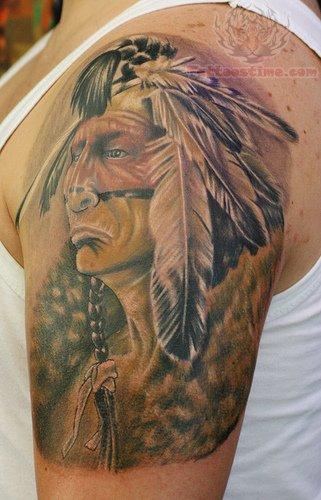 Tribal Indian Tattoo On Shoulder For Men