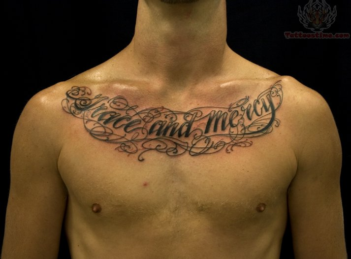 lettering chest tattoos