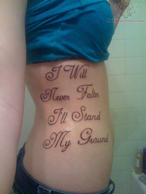 Lettering Tattoo On Girl Rib