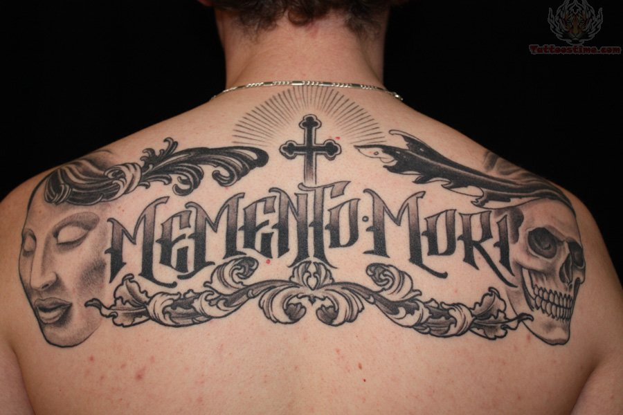 Tattoo Letter A Gothic Upper Back Lettering Tattoo
