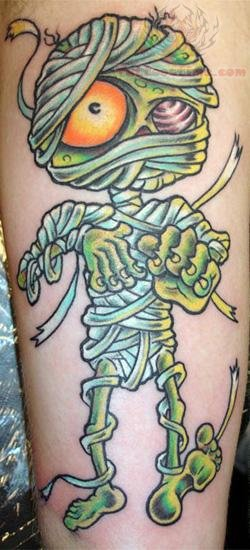 Green Ink Mummy Tattoo