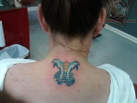 Dolphin Sea Creature Tattoo On Back