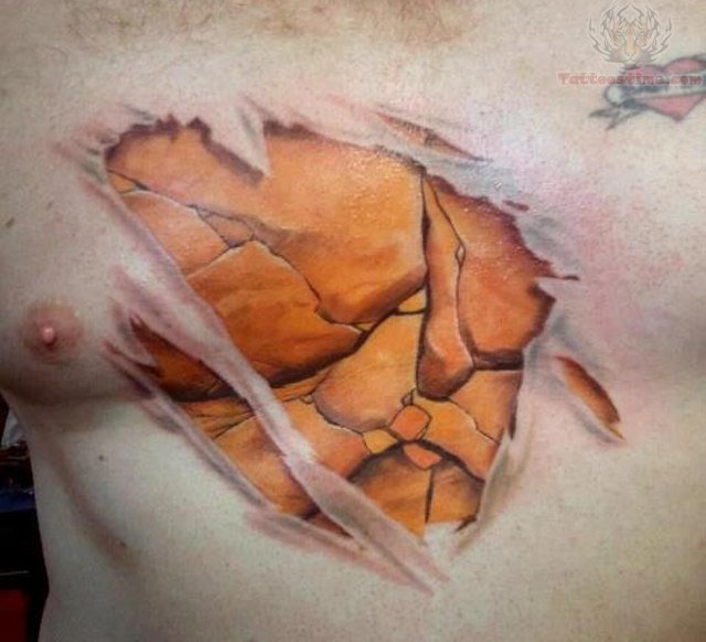 Torn Ripped Skin Tattoo On Man Chest