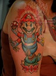 Large Mario Tattoo On Sleeve