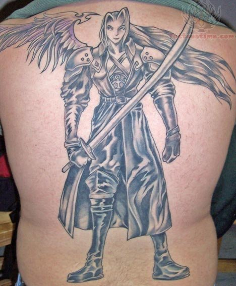 Large Video Game Tattoo On Full Back