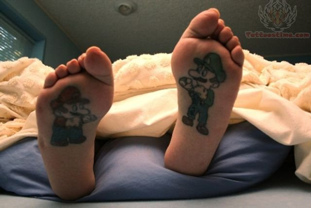 Mario Tattoos Under Feet
