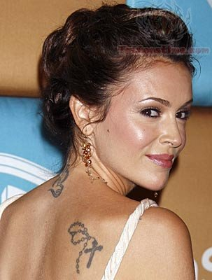 Alyssa Milano Back Tattoo For Woman