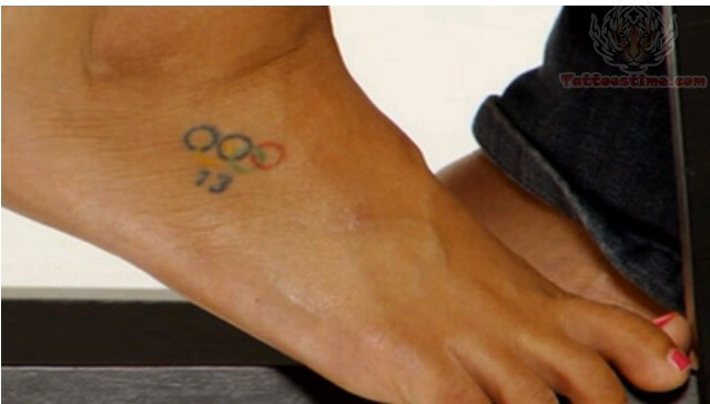 Olympic Rings Color Tattoo On Foot