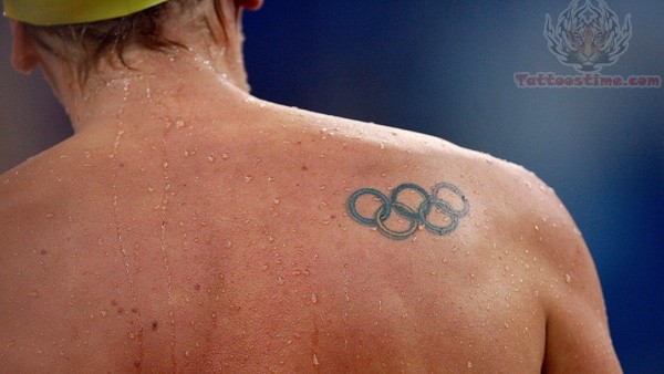 Olympic Tattoo On Men Shoulder
