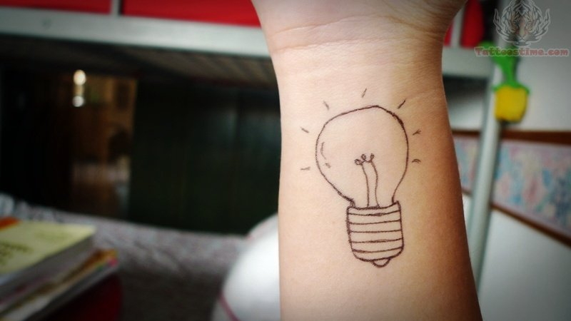 Lighting Bulb Tattoo On Wrist