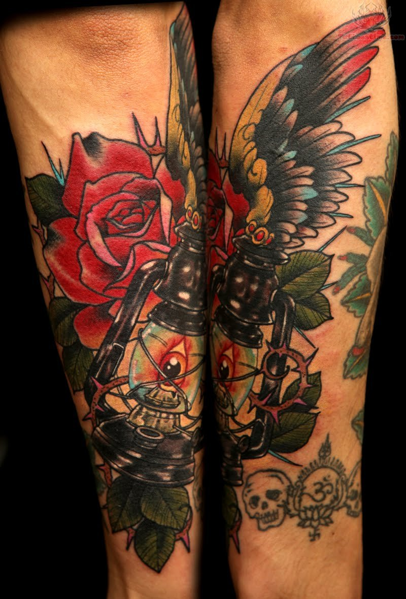 Rose and winged lamp tattoo for Roses sleeve tattoos