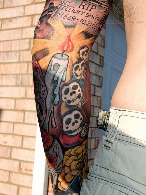 Candle Tattoo On Elbow