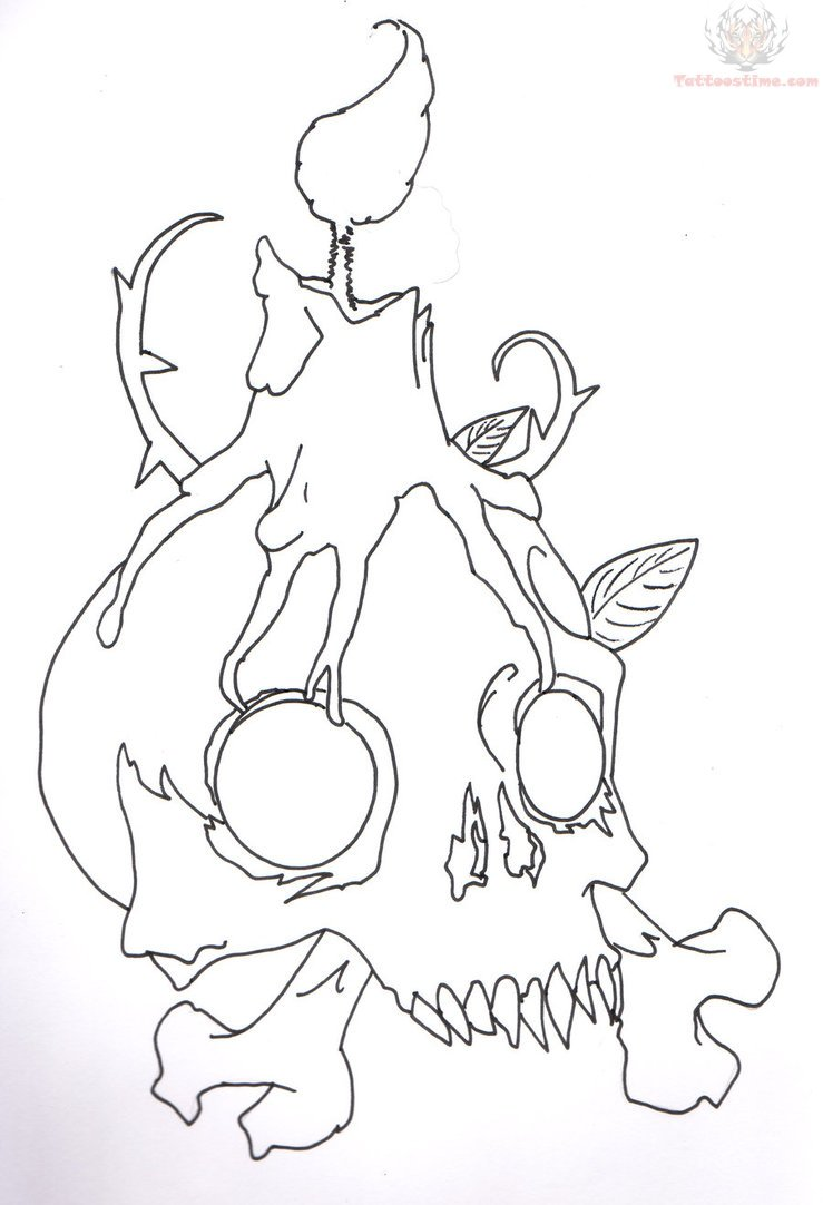 Skull Candle Tattoo Sketch