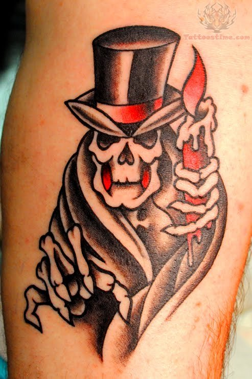 skull tophat candle tattoo. Black Bedroom Furniture Sets. Home Design Ideas