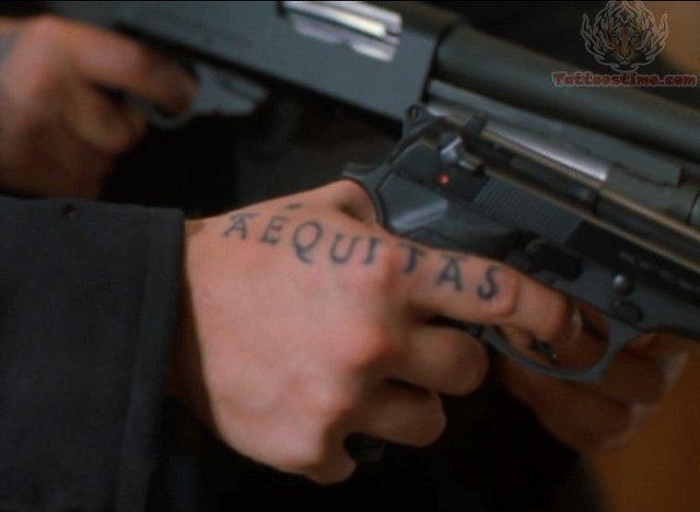 Aequitas tattoo justice in latin for Boondock saints hand tattoos