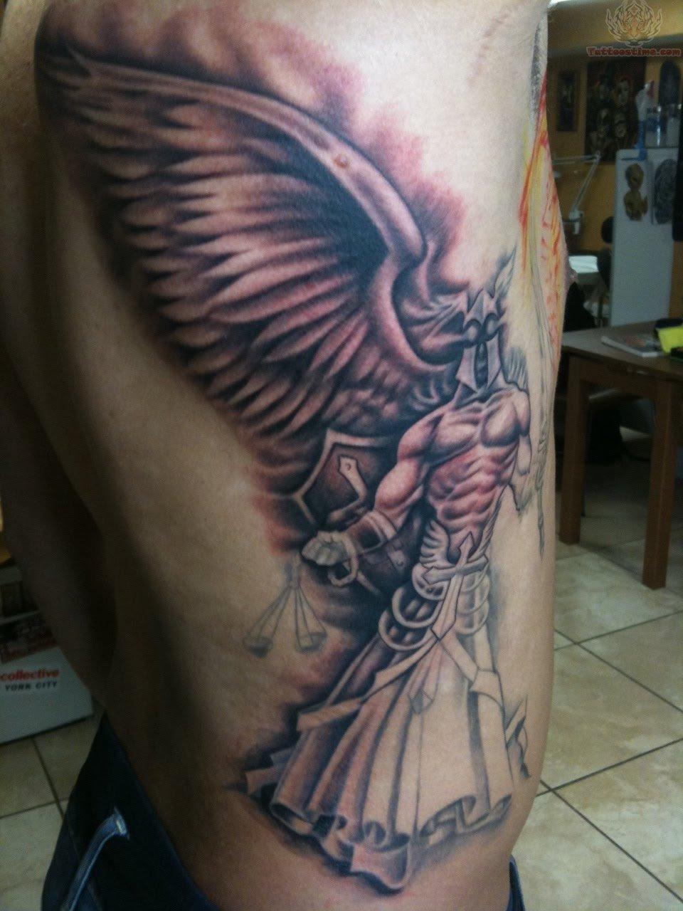 Angel Winged Justice Tattoo
