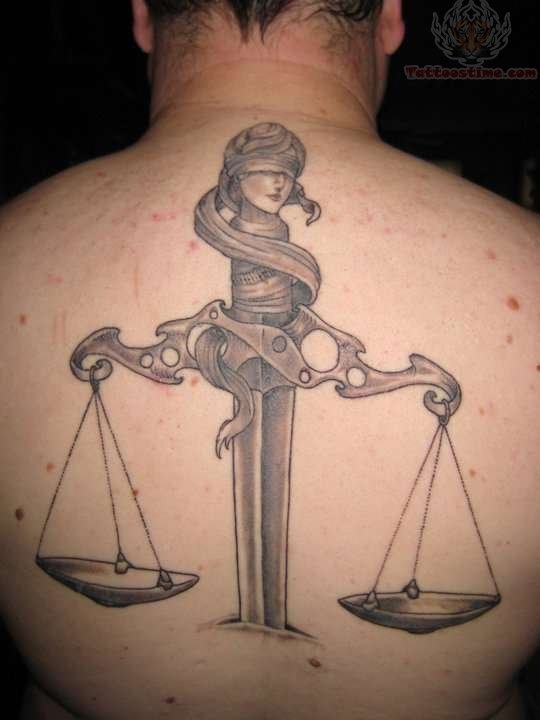 Scales Of Justice Tattoo On Back