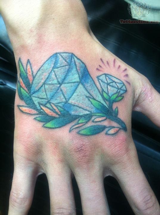 Blue Diamond Tattoo On Back Hand