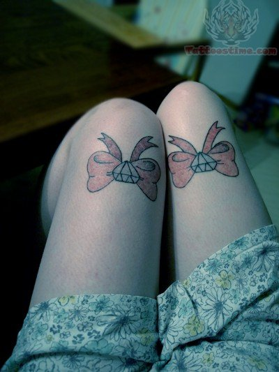 Bow And Diamond Tattoos On Thigh