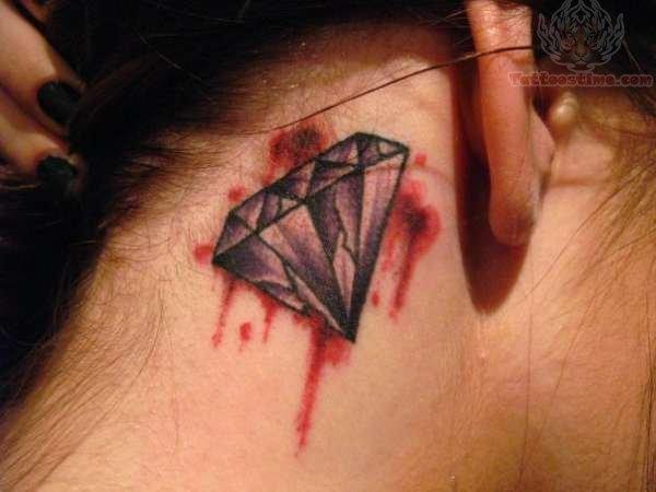 Blood diamond tattoo behind ear for Blue blood tattoo