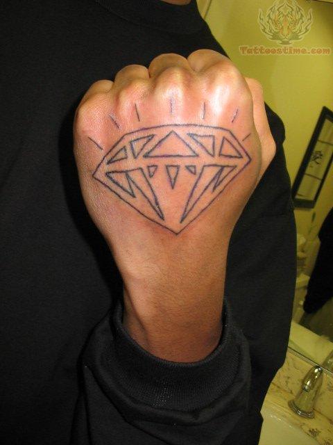 Diamond Outline Tattoo On Hand
